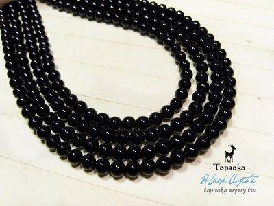 《晶格格的多寶格》串珠材料˙天然石配件 天然黑玉髓/黑瑪瑙4mm圓珠一份(95P)【S305-04】條珠/佛珠