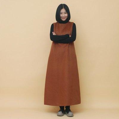原創設計高品質素雅氣質款羊毛無袖連衣裙(老銀屋)