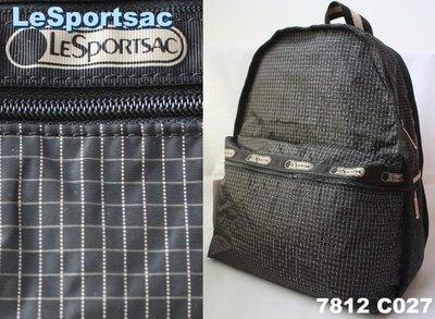【LeSportsac】100% 全新正品 7812 C027 / BLACK WINDOWPANE 基本款 後背包【適A4文件】