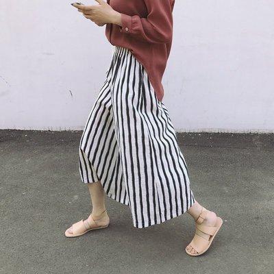 【UBY】直條紋棉麻!百搭鬆緊腰九分寬褲◄No05101