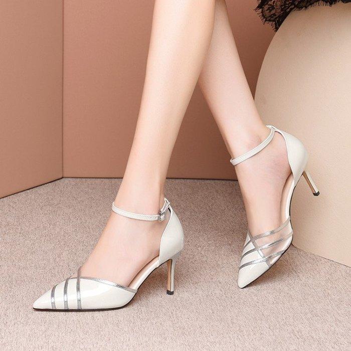 真皮 藍色高跟鞋女一字帶細跟尖頭淑女仙氣單鞋2020春款扣帶中空女鞋子 HKA 055