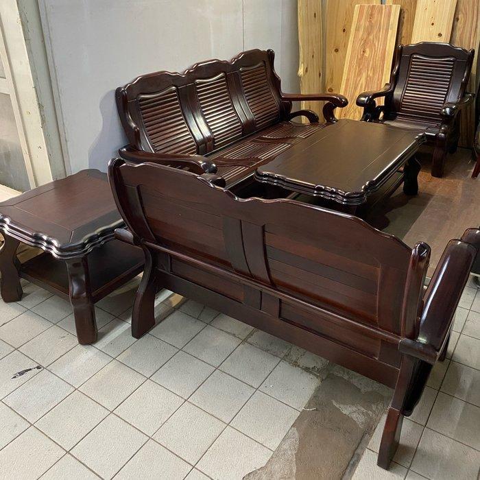 花梨木3+2+1+大小茶几沙發組(不拆賣)/辦公室沙發/會客椅/客廳沙發/洽談沙發/布沙發 A3962【晶選二手傢俱】
