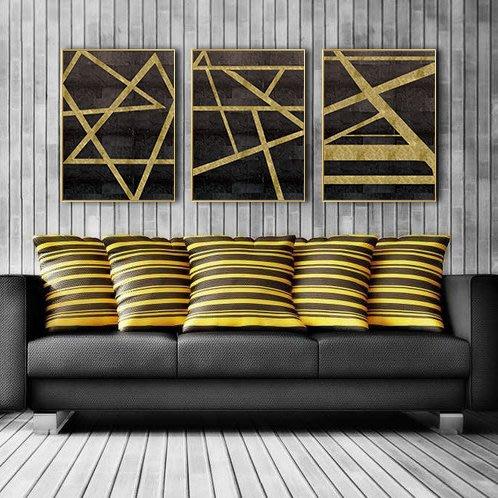 三幅一組油畫布 幾何圖形黑黃 畫芯/畫布/30X40☺暖暖屋☺傢居藝術館