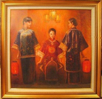 ((天堂鳥)) 中國古典美人油畫原作#306 (自取)