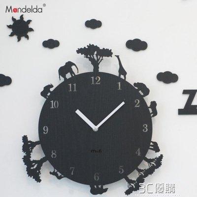 綠光街鋪 韓國創意卡通動物時鐘臥室靜音12寸牆壁掛鐘客廳現代掛錶S258