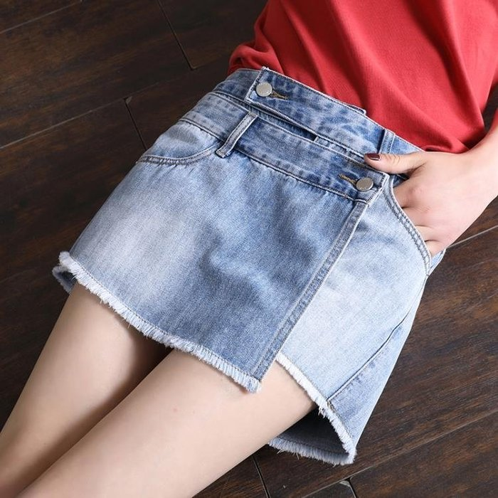 chic牛仔短褲裙女夏2018新款韓版學生寬鬆休閒大碼假兩件毛邊短褲SMB10431