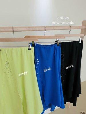 kini 韓國連線【預購款】 拼接不規則釘珠造型長裙   21D#0626