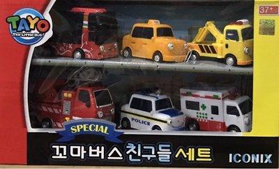 TAYO救援車六件組 韓國卡通TAYO小巴士~◎童心玩具3館◎