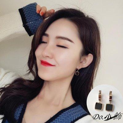 Do.小飾黑色彩釉方塊吊墜耳環女玫瑰金鈦鋼耳釘韓國氣質簡約時尚幾何耳墜