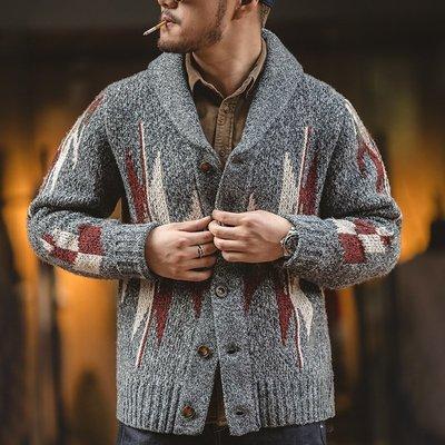 ∵ PRAY FOR FASHION ∴美式復古印第安納瓦霍毛衣絲瓜領翻領加厚保暖慵懶針織navajo開襟衫