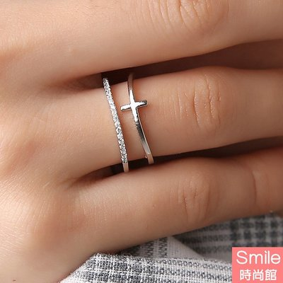 【39A90】SMILE-獨特亮點.歐美十字架鍍金鑲嵌開口戒指