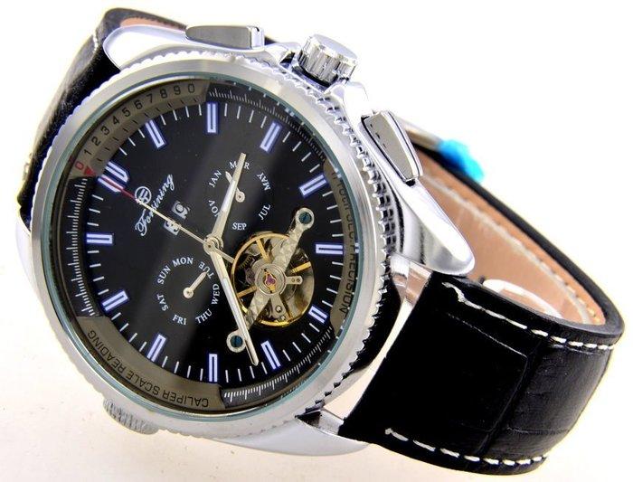 (六四三精品)超級大錶徑4.5公分.左右雙龍頭豪邁,複雜功能三眼五針.似陀飛.自動上鍊機械錶..銀殼