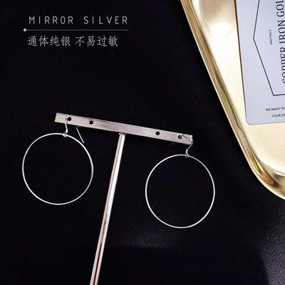 配飾耳環項鏈戒指歐美簡約大圓圈簡單圓形S925純銀耳環夸張耳飾耳墜長款時尚耳圈女