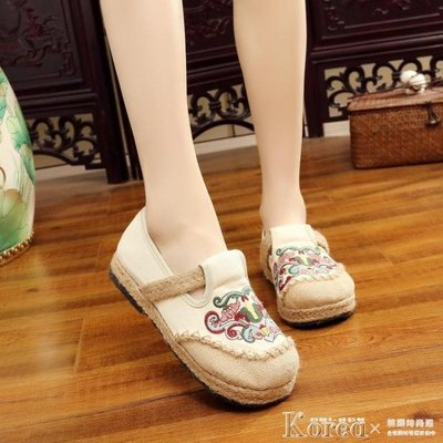 漁夫鞋 新款繡花鞋老北京布鞋女鞋軟底舒適休閒平底鞋單鞋名族風漁夫鞋