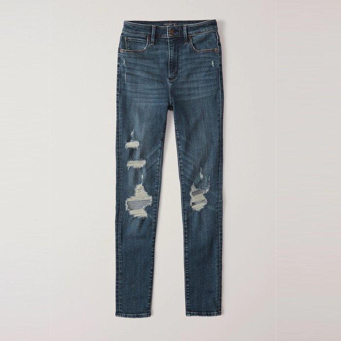 【Abercrombie&Fitch】【A&F】AF女款牛仔長褲高腰抓破深藍 F02191201-02