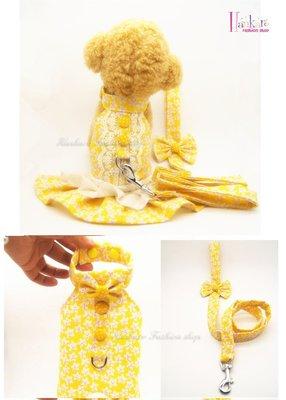 ☆[Hankaro]☆ 寵愛毛小孩黃色小碎花背心/裙裝胸背牽繩組(共四種尺寸)
