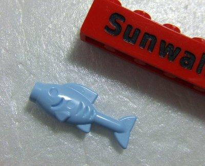 【積木1977-道具】Lego 樂高-全新-食物 亮淡藍色魚/烤魚 (Bright Light Blue)