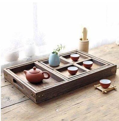 【優上】日式實木燒桐茶盤茶具茶具套裝原木分割盤桌面收納盒多功能托盤