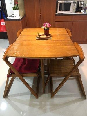 (二手)原木餐桌桌組,可收折合 (一桌四椅)(請自取)