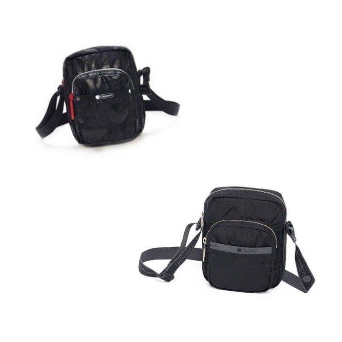 ♥ 小花日韓雜貨 -- Lesportsac 流行方形斜背包手機包 3377 素面黑色字母背帶可口可樂聯名