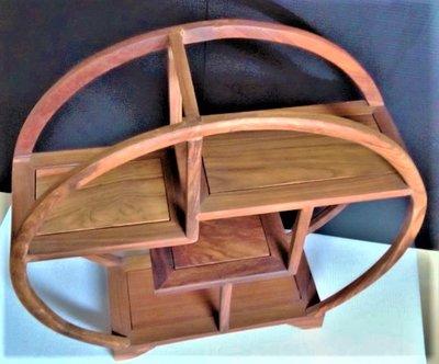 @居士林@雞赤木仿古圓框三層藝品木架座櫃(多寶閣)尺寸:長11公分.直徑寬35公分