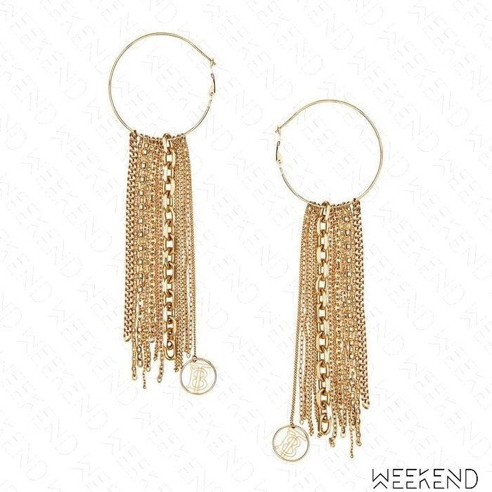 【WEEKEND】 BURBERRY 大尺寸 圓環 鍊條 一對 耳環 金色