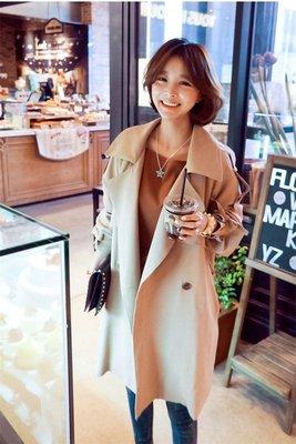 =EF依芙=韓國首爾 時尚精品 東大門同步 茵蔓8118 卡其色棉混纺長款纯色風衣外套