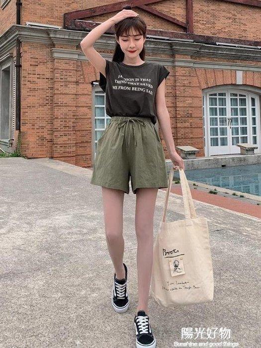 棉麻短褲女新款夏高腰外穿寬鬆運動休閒顯瘦五分闊腿 a字韓版