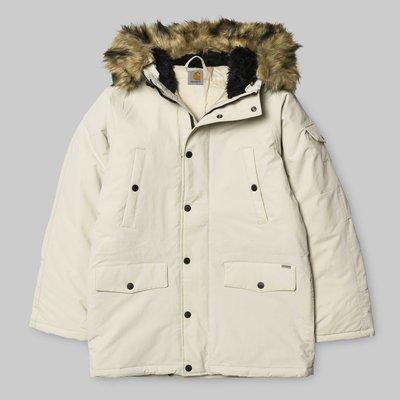 (預購商品) Carhartt WIP Anchorage 白色 紅色 防潑水 合成 毛料 連帽 風衣 軍裝 外套