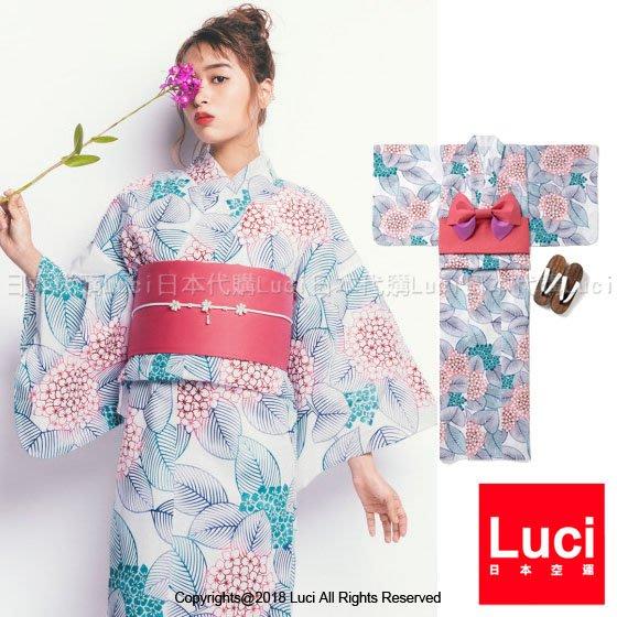 浴衣 清新紫陽花 繡球花 花朵浴衣和服三件組  日雜款  LUCI日本代購 [gi1104kx]