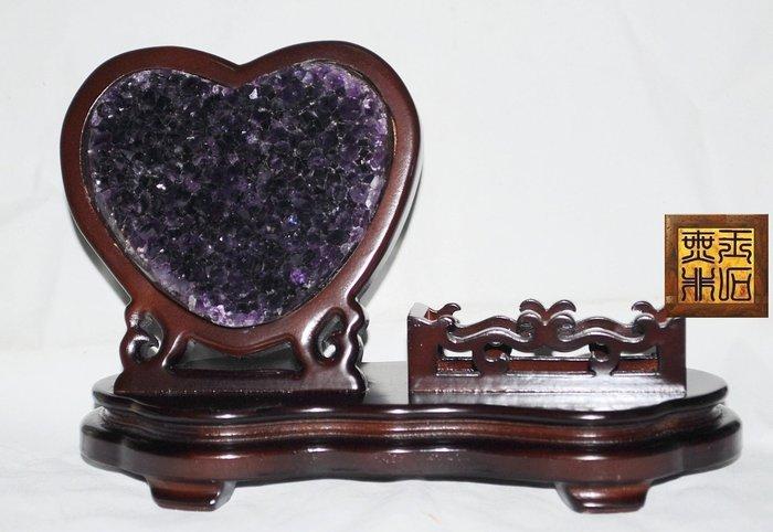【無非玉石館】天然AAAAA烏拉圭紫水晶 ~重 603g 愛心型名片座 促銷價《請先確認尺寸是否合適》