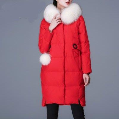 羽絨 外套 連帽夾克-狐狸毛毛領純色長款女外套3色73um8[獨家進口][米蘭精品]