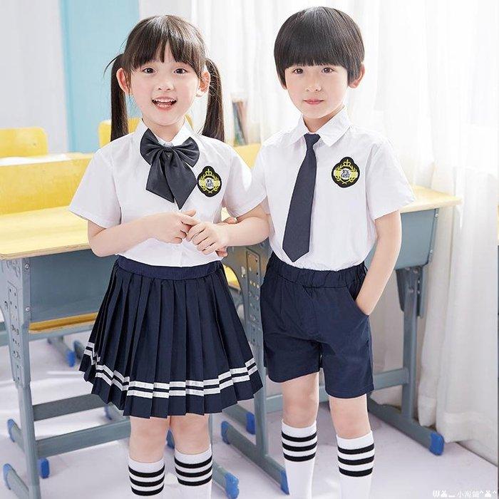 似梦_非夢  男女童校服夏季短袖套裝小學生幼兒園園服學院風英倫兩件套演出服