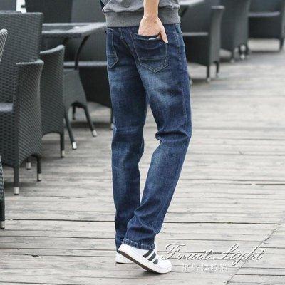 筒寬鬆男士牛仔褲款彈力大碼褲子休閒高腰長褲