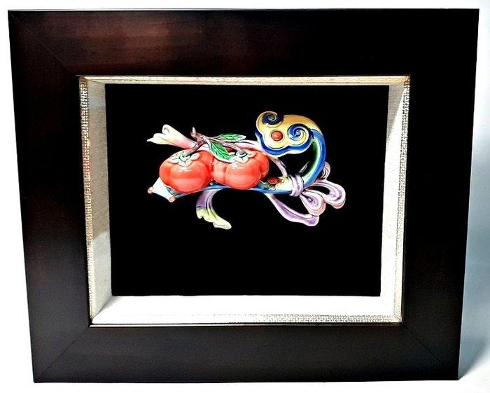 乾唐彩 陶瓷彩繪 事事如意 柿柿如意 立體浮雕 開運擺件 32×27×5.5公分 附精美禮盒 可吊掛或擺放桌上