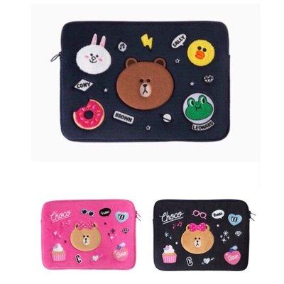 正版熊大13吋15吋筆電包apple熊美熊大妹筆電包筆記型電腦包筆電保護套丹寧筆電包13吋 韓國line Friends