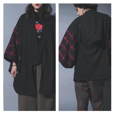 美國東村【SLIGHTLY NUMB】LOADED KIMONO 拼接 格紋 織帶 和服 外套