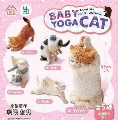 【動漫瘋】特價  日本  正版 扭蛋 轉蛋 Animal Life  貓瑜珈寶寶 全五種