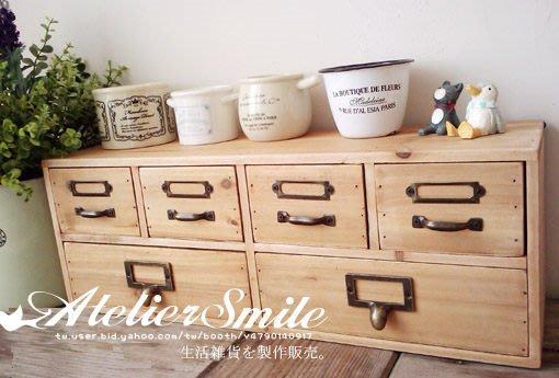 [ Atelier Smile ] 鄉村雜貨  壁掛/桌面兩用原木收納盒 分類收納櫃 (特價)