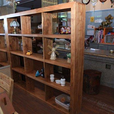柚木展示櫃 書櫃 隔間櫃 12格收納櫃 展示架 開放式書櫃 全實木{永美家具.永美傢俱}