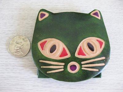 皮製皮雕動物圖案零錢包- 小貓咪