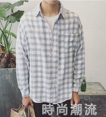ZIHOPE 格紋襯衫日系薄款春季潮流格子長袖襯衫韓版寬鬆情侶襯衣外套ZI812