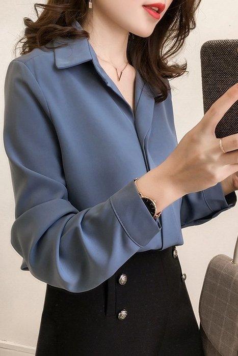 (XA-7252)百搭時尚襯衣V領雪紡上衣長袖襯衫