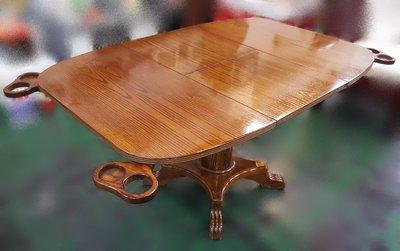 台中二手家具館~宏品二手家具家電 E102309*柚木色蝴蝶餐桌 桌椅*2手桌椅拍賣 會議桌椅 戶外休閒桌椅 課桌椅