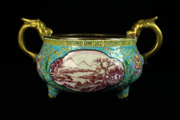 悅年堂 --- 銅胎畫琺瑯 山水圖 纏枝花卉紋 龍首三足爐 香爐