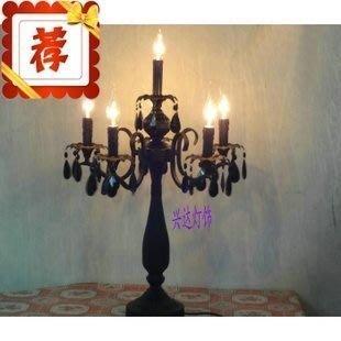 【優上精品】歐式黑色水晶臺燈臥室床頭婚慶臺燈復古家居婚慶臺燈(Z-P3269)