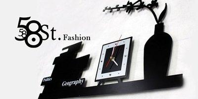 【58街】創意設計師款式「-擺飾- 壁貼靜音掛鍾、貼鐘」金屬烤漆,複刻版。AB-128