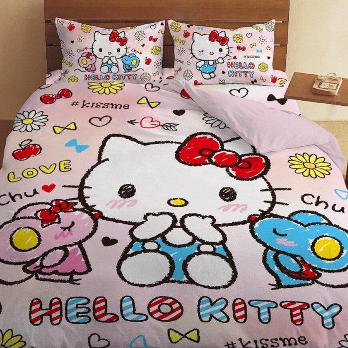 【愛購樂】 【免運 雙人床包+四季被】正版授權 kitty chu~系列 標準雙人5x6.2尺床包組+雙人5x6尺四季被