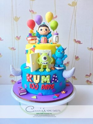 【Connie's Home Sweets】Baby Boy cosplay 毛毛 x 單眼仔 x Monster University Birthday Cake 100 Days