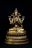 《博古珍藏》明永樂.銅鎏金鑲寶石彌勒菩薩古佛坐像.西藏密宗.早期收藏.老件.高34公分.信徒結緣.超值回饋